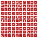 100 vogue icons set grunge red. 100 vogue icons set in grunge style red color isolated on white background vector illustration Stock Image