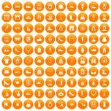 100 vogue icons set orange. 100 vogue icons set in orange circle isolated on white vector illustration Royalty Free Stock Photos