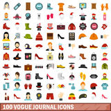 100 vogue journal icons set, flat style. 100 vogue journal icons set in flat style for any design vector illustration Royalty Free Stock Photo