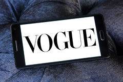 Vogue logo. Logo of fashion company vogue on samsung mobile phone a5 Stock Photo