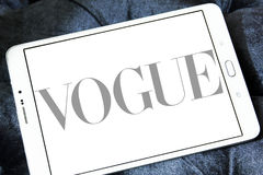 Vogue logo. Logo of fashion company, vogue on samsung tablet Stock Images