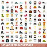 100 vogue magazine icons set, flat style. 100 vogue magazine icons set in flat style for any design vector illustration vector illustration