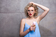 Vogue model with ice cream cone Royalty Free Stock Photo