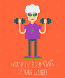 In vogue modern grandmother with the dumbbells Royalty Free Stock Photo