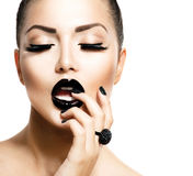 Vogue Style Fashion Girl. With Trendy Caviar Black Manicure Stock Image