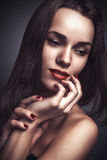 Vogue style glamour portrait beautiful delicate woman stock photo