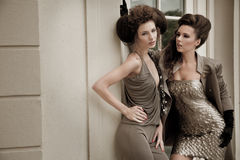 Vogue style photo of a two fashion ladies Stock Photos