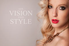 Vogue style portrait of beautiful blonde woman. Stock Photography