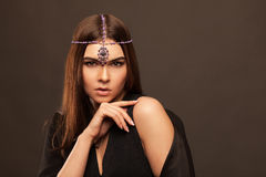 Vogue style portrait of beautiful brunette woman Royalty Free Stock Photo