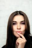 Vogue style portrait of beautiful brunette woman Stock Photography