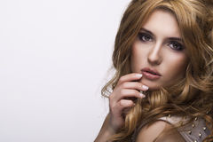 Vogue style portrait of beautiful delicate woman Royalty Free Stock Image