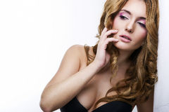 Vogue style portrait of beautiful delicate woman Royalty Free Stock Photo