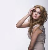 Vogue style portrait of beautiful delicate woman Stock Photos