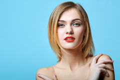 Vogue style portrait of beautiful delicate woman Stock Image