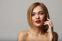 Vogue style portrait of beautiful delicate woman! Stock Images