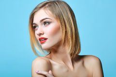 Vogue style portrait of beautiful delicate woman Stock Photography