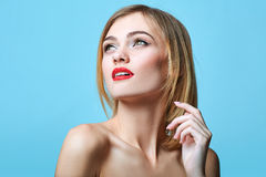 Vogue style portrait of beautiful delicate woman. Stock Photos