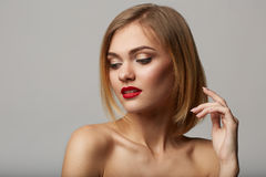 Vogue style portrait of beautiful delicate woman! Royalty Free Stock Image