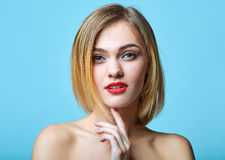Vogue style portrait of beautiful delicate woman Stock Images