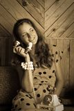 Vogue style vintage portrait Royalty Free Stock Photo