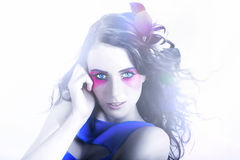 Vogue Style Woman With Beautiful Bright Makeup Stock Photos