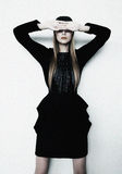 Vogue supermodel in black dress Royalty Free Stock Photo