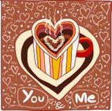 Voi e me amore del caffè disegnato a mano Fotografia Stock Libera da Diritti