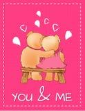 Voi e me cartolina di giorno di biglietti di S. Valentino con Toy Bears Immagini Stock Libere da Diritti