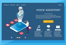 Voice assistant vector website landing page design template royalty free illustration