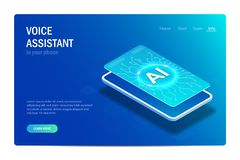 Voice assistant in your phone. Artificial Intelligence. Smart phone. Web page template. Isometric concept. Vector. Editable illustration in hi tech style vector illustration