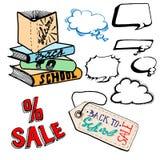 Voice balloon, back to school, shopping, discount. Vector Illustration Stock Photo