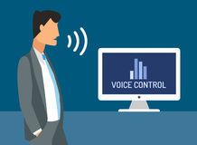 Voice control vector illustration. Smart computer Royalty Free Stock Photos