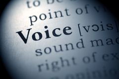 Voice. Fake Dictionary, Dictionary definition of the word Voice Stock Photo