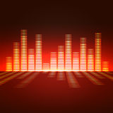 Voice-frequency equalizer. Voice-frequency equalizer with bright gold illumination Royalty Free Stock Image
