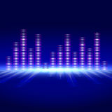 Voice-frequency equalizer. The equalizer of voice frequency with bright lighting on a blue background Stock Images