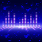 Voice-frequency equalizer. The equalizer of voice frequency with bright lighting on a blue background Stock Image