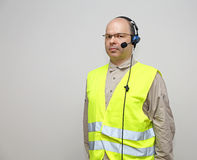 Voice Headset. Pick by Voice Control Headset Bald Man With Glasses Royalty Free Stock Photography