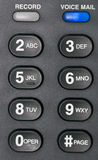 Voice Mail. A macro shot of a desk phone's voice mail alert button and number buttons Stock Image
