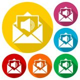 Voice mail, Speaker symbol, Audio message icons set with long shadow Stock Photography
