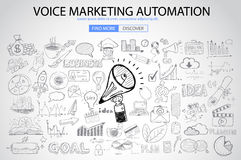 Voice Marketing concept with Doodle design style Royalty Free Stock Image