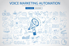 Voice Marketing concept with Doodle design style Royalty Free Stock Photography