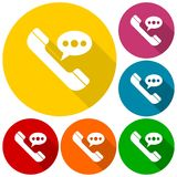 Voice message icons set with long shadow. Icon Stock Photos