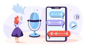 Voice message in online chat. Idea of modern technology. And audio conversation. Record message and send to friend. Isolated vector illustration in cartoon stock illustration