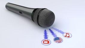 Voice over microphone and american flag. Black microphone emitting blue soundwaves leading to a tv note and an american flag symbol voice over concept 3D Royalty Free Stock Images