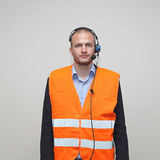 Voice Picking Worker. With Wired Headset Royalty Free Stock Photos