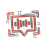 Voice recognition icon in comic style. Authentication sound vector cartoon illustration on white isolated background. Soundwave. Business concept splash effect royalty free illustration