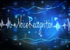 Voice recognition. Text on blue grid Stock Image