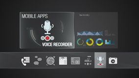 Voice recorder icon for mobile application contents.Various application function for smart device.Digital display application. Mobile application contents stock video footage