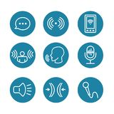 Voice Recording & Voiceover Icon Set with Microphone, Voice Scan. Voice Recording and Voiceover Icon Set with Microphone, Voice Scan Recognition Software stock illustration