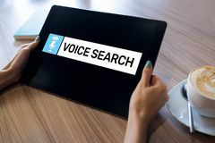 Voice search application on device screen. Internet and technology concept. royalty free stock photo